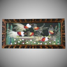Vintage Bird Feather Art Framed Wall Hanging – Colorful Fighting Cocks