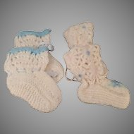 Vintage Baby Booties -  Two Pairs of Old Handmade Infant Shoes