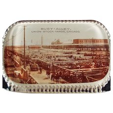 Vintage Glass Advertising Paperweight - Union Stock Yards of Chicago Busy Alley