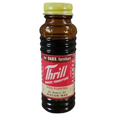 Vintage Sample Glass Bottle of  Old Thrill Furniture Wax