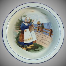 Vintage Baby Plate with Young Dutch Girls - Deep Bowl