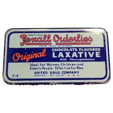 Vintage Rexall Orderlies Chocolate Laxative Medicine Tin