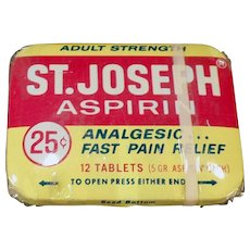 Vintage Medicine Tin - St.Joseph Aspirin Tin with Original Wrapping