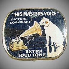 Vintage Blue, His Master's Voice Phonograph Needle Tin - Nipper Logo