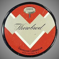Vintage Typewriter Ribbon Tin - Underwood Thorobred Tin