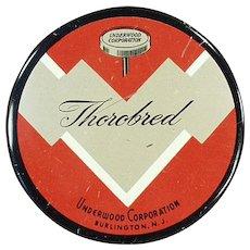 Vintage Typewriter Ribbon Tin - Underwood Thorobred Tin