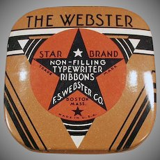 Vintage Webster Typewriter Ribbon Tin - Small Size