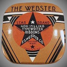 Vintage Webster Typewriter Ribbon Tin - Small Size