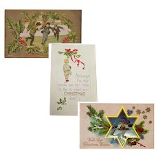 Three Vintage Christmas Greeting Postcards – Early 1900's