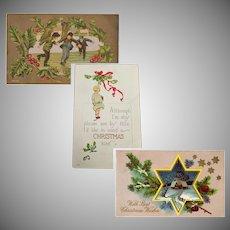Three Vintage Christmas Greeting Postcards – Early 1900's