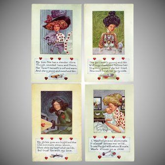 Four Vintage Valentine Postcards – Life Comic Series – Variety of Personalities