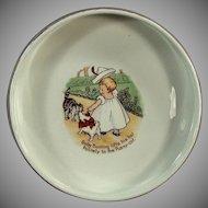 Vintage Baby Plate Feeding Dish - Baby Bunting Nursery Rhyme - Homer Laughlin