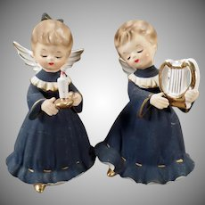 Vintage Holiday Angels – Angelic Girls in Dark Blue Robes –  Inarco