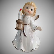 Vintage Porcelain Christmas Angel Holding a Candlestick