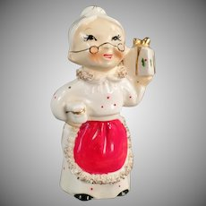 Vintage Mrs. Claus Candle Holder - ca. 1950's Christmas Decoration