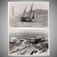 Vintage Photograph Souvenir Postcards - San Francisco Cliff House & Sailboats