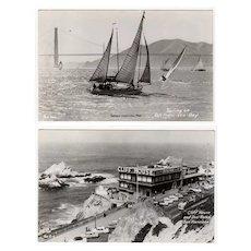 Vintage Photograph Souvenir Postcards - San Francisco Cliff House & Sailboats