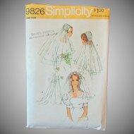 #9826 Vintage Simplicity Pattern – Bridal Headpieces & Veils - 1971