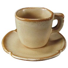 Vintage Frankoma Pottery Demitasse Cup and Saucer - Plainsman Ada Clay