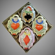 Vintage Bridge Ashtrays with Clowns and Lustreware Glaze – Original Box