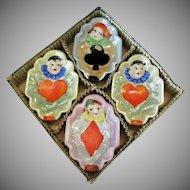 Vintage Bridge Ashtrays with Clowns and Lustreware Glaze – Original Box