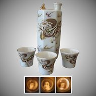 Vintage Whistling Sake Decanter with 3 Geisha Lithophane Cups - Hand Painted Dragon
