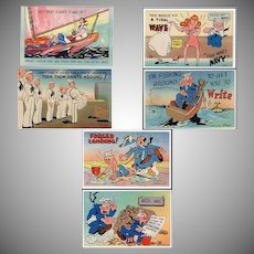 Humorous Vintage Postcards – Six Navy Spoofs - Colorful and Never Used
