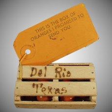 Vintage Texas Promotional Orange Crate Mailer - Del Rio Texas Souvenir
