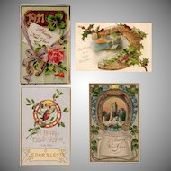 Four Vintage New Year Greeting Postcards – Early 1900's