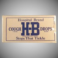 Vintage Cough Drop Sample Box - Unopened H-B Hospital Brand