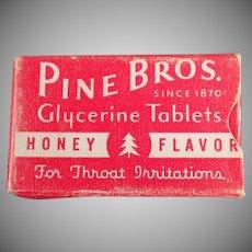 Vintage Medicine Sample - Pine Bros. Cough Drops Box
