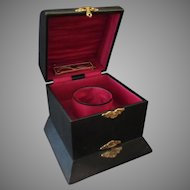 Vintage Two Section Collar, Cuff & Jewelry Box – Black Leatherette Paper