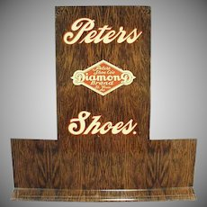 Vintage Shoe Display - Peters Diamond Brand Advertising Shoe Stand