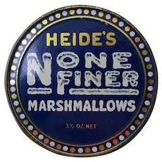 Vintage Heide's None Finer Marshmallow Tin – 3½ oz – Very Nice Condition