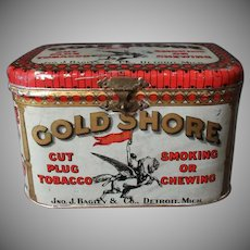 Vintage Gold Shore Cut Plug Tobacco Tin – Lunch Box Style Tin