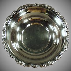 Vintage Silver Plate Serving Bowl - Old Candy Dish with Ornate Edge