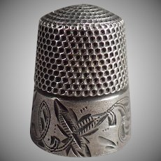 Vintage Sterling Silver Sewing Thimble - Leaf Design - Stern Brothers