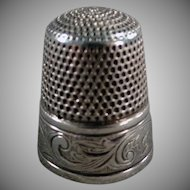 Vintage Sterling Silver Sewing Thimble - Simons Brothers with Art Nouveau Design