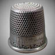 Vintage Sewing Thimble - Sterling Silver - Simple Scroll Design – Size 11
