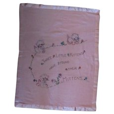 Vintage Baby Blanket with Hand Embroidery – Three Little Kittens with Mittens