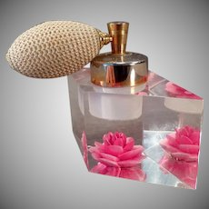 Vintage Evans Perfume Atomizer – Lucite Perfume with Brilliant Pink Flower