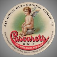 Vintage Celluloid Advertising Pocket Mirror - Cascarets Laxative with Cherub on Chamber Pot