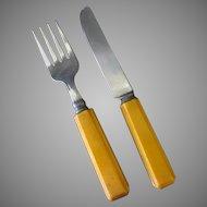 Child's Vintage Fork & Knife Flatware Set with Bakelite Handles