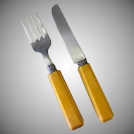 Child's Vintage Fork & Knife Flatware Set with Bakelite Handles