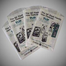 Vintage General Electric Magic Cube & Flip Flash Camera Bulbs Advertising Bags