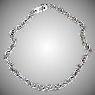 "Vintage Charm Bracelet Chain - 7 1/2"" Long Silver Chain"