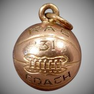 Vintage 1931 Basketball Charm - Coach K.A.C. - Gold Filled Charm