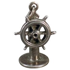 Vintage Silver Ship's Helm Wheel Charm with Movable Steering Wheel