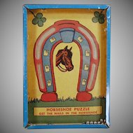 Vintage Horseshoe Puzzle Dexterity Game - Get the Nails in the Horseshoe