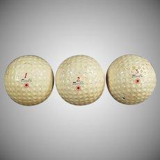 Three Vintage Dunlop Maxfli Golf Balls - Numbers 1-2-3